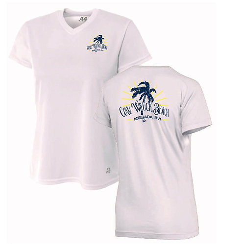 Women Cow Wreck Beach V-neck Short Sleeve  UV Sun Shirts