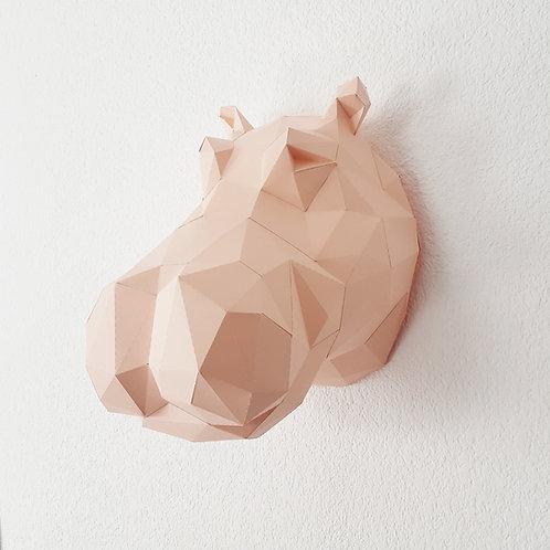 Trophée origami Hippo - Kit DIY papier