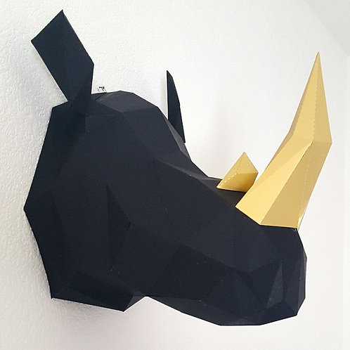 Trophée origami Rhino noir - Kit DIY papier