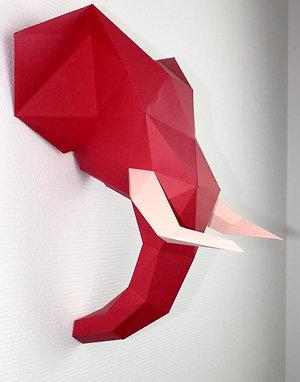 Trophée Origami Élephant - Kit DIY papier