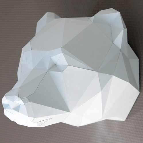 Trophée origami Ours - Kit DIY papier
