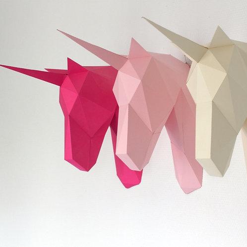 Trophée origami Licorne - Kit DIY papier