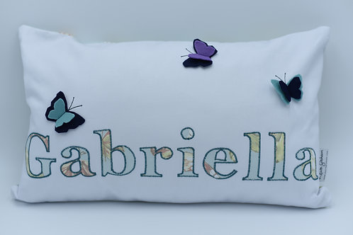 Name cushion with butterfly detail - up to nine letters
