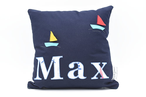 Name cushion with sailboat detail - up to nine letters