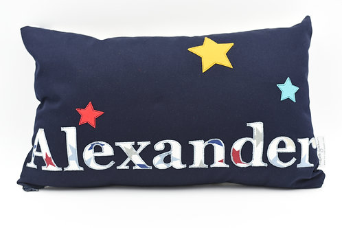Name cushion with star detail - up to nine letters
