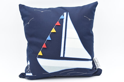 Cushion with large sailboat - stripes on dark blue twill