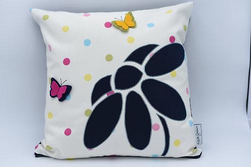 Cushion with 3D flower - dark blue twill on spots