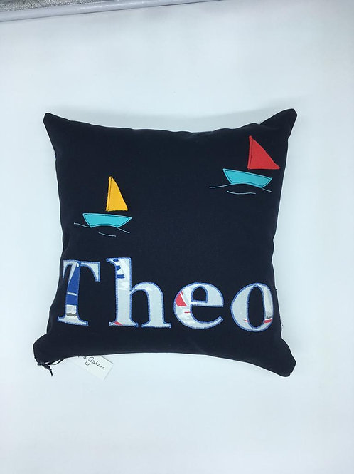 Name cushion with sailboat detail - up to six letters