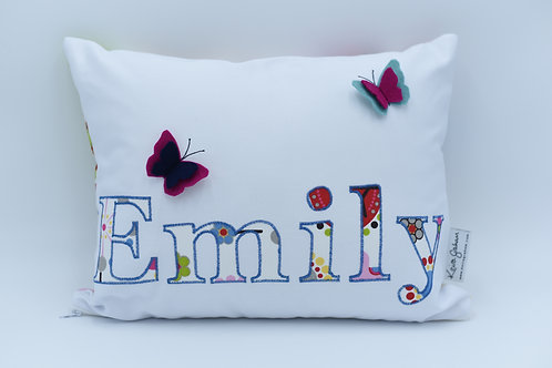 Name cushion with butterfly detail - up to six letters