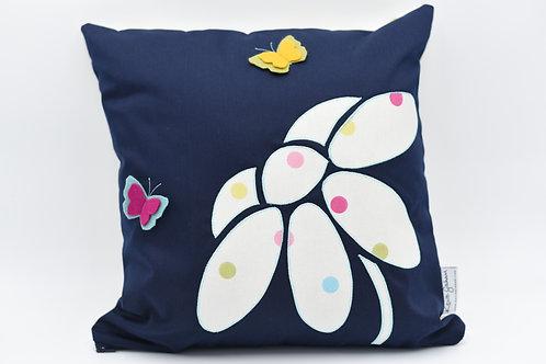 Cushion with 3D flower - spots on dark blue twill