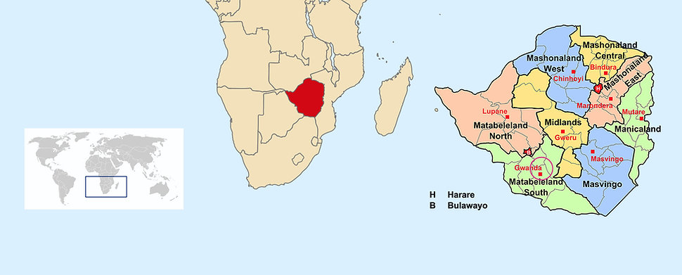 Map of Zimbabwe and Gwanda in the world