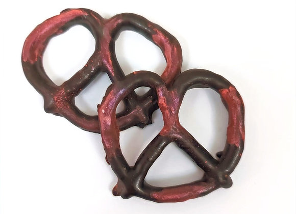 Chocolate covered pretzels with Burgundy Shimmer 10CT Box