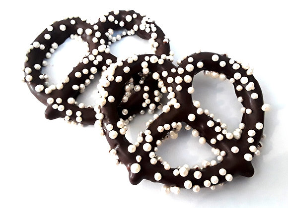 Chocolate Covered Pretzels with White Pearls 10CT Box