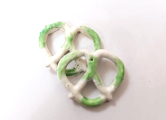 White chocolate covered pretzels with Green Shimmer 10CT Box
