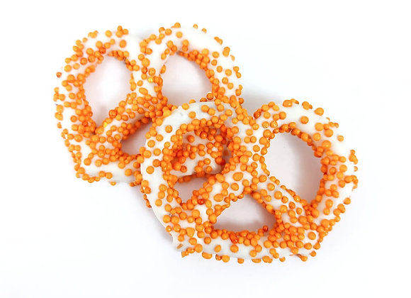 White chocolate covered pretzels with Orange Pearls 10CT Box