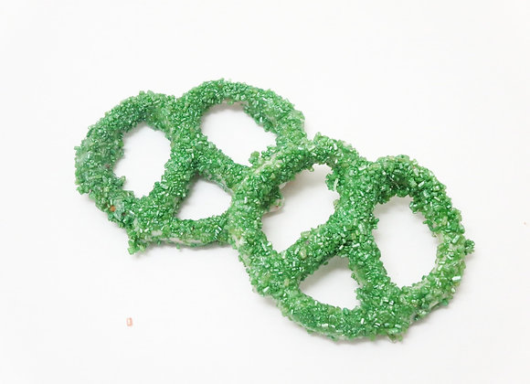 White Chocolate Covered Pretzels With Green Sugar Crystals 10CT Box