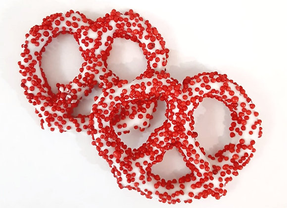 White Chocolate covered pretzels with Red Pearls 10CT Box