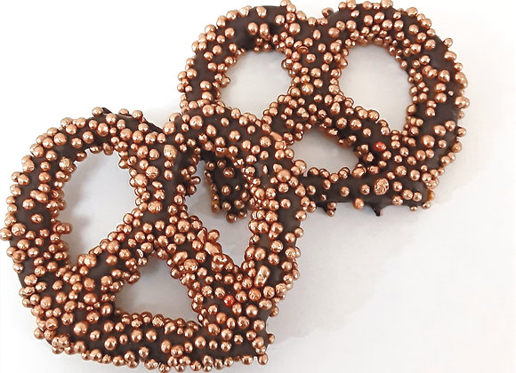 Chocolate Covered Pretzel with Bronze Pearls 10CT Box