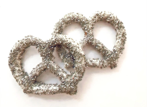 White chocolate covered pretzels with Silver Sugar 10CT Box