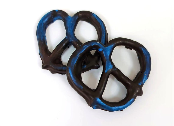 Chocolate covered pretzels with Blue Shimmer 10CT Box