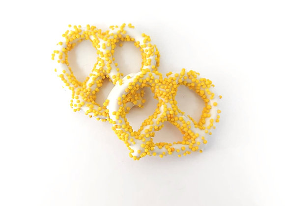 White chocolate covered pretzels with Yellow Pearls 10CT Box