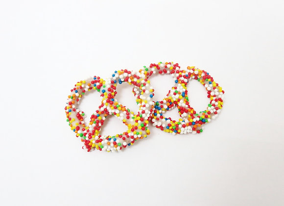 White Chocolate Covered Pretzels With Colorful Sprinkles - 10CT Box