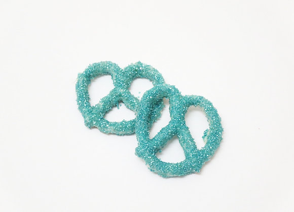 White Chocolate Covered Pretzels With Blue Sugar Crystals 10CT Box