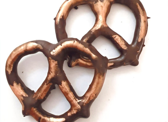 Chocolate covered pretzels with Bronze Shimmer 10CT Box
