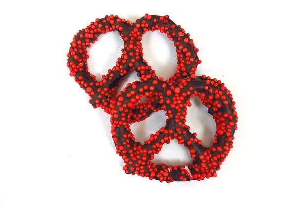 Chocolate covered pretzels with Red Pearls 10CT Box