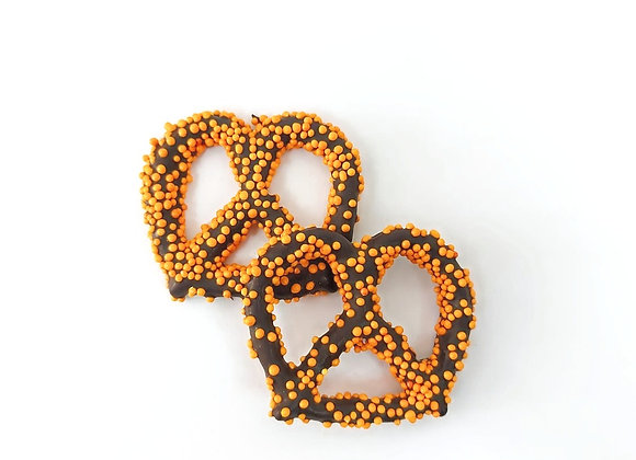 Chocolate covered pretzels with Orange Pearls 10CT Box
