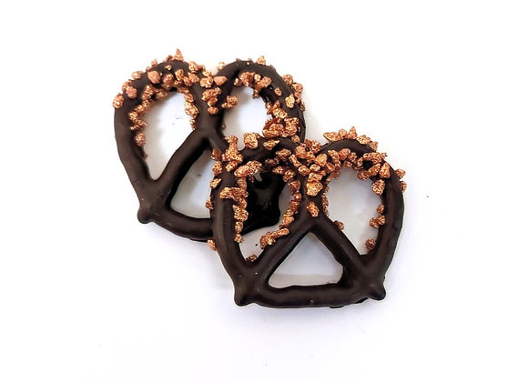 Chocolate covered pretzels with Bronze Rocks 10CT Box