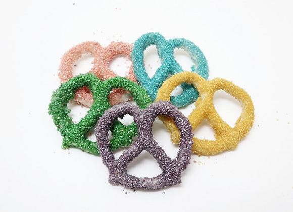 White Chocolate Covered Pretzals With Rainbow Sugar Crystals 10CT Box