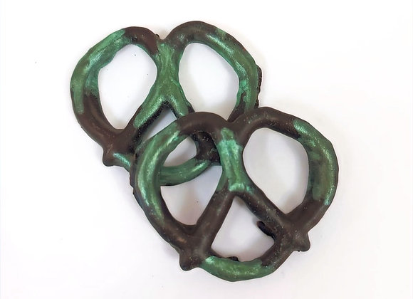 Chocolate covered pretzels with Green Shimmer 10CT Box