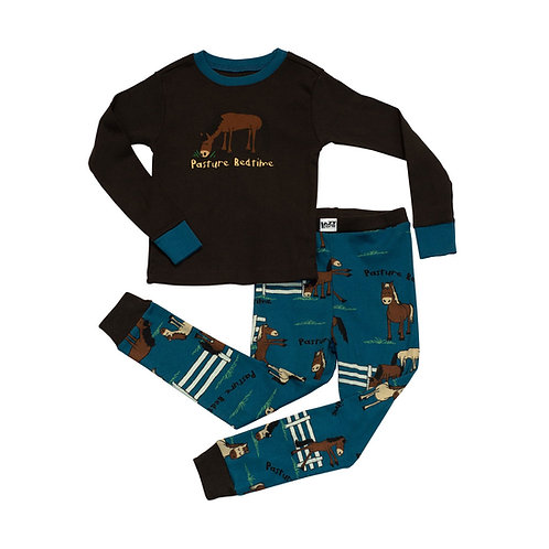 LazyOne Boys Pasture Bedtime Kids PJ Set Long Sleeved