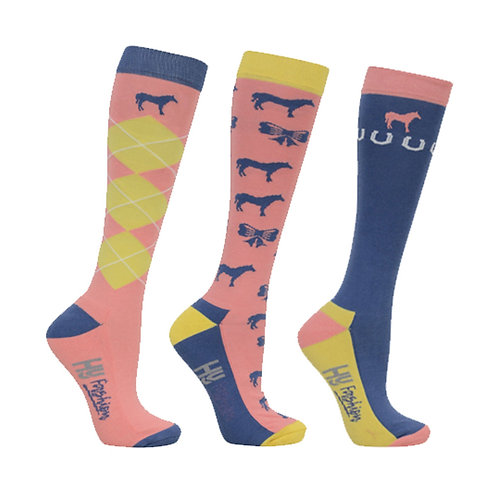 HyFASHION Newmarket Horse Print Socks Pack of 3