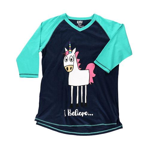 LazyOne Woman's I Believe Unicorn PJ T-Shirt