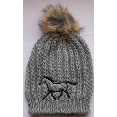 Ladies Faux Fur Pom Pom Hat - Pony Silhouette