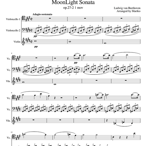 Moonlight Sonata Trio Score