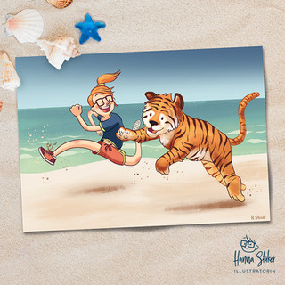 Strandlauf mit Tiger