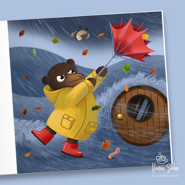 Der Bär der seinen Regenschirm nicht aufbekam