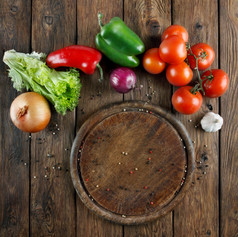 Various vegetables at wooden rustic back