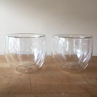 DOUBLEWALL GLASS TEACUPS (2)