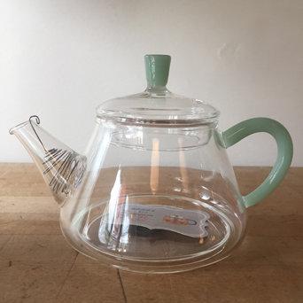 JADE HANDLE GLASS TEAPOT