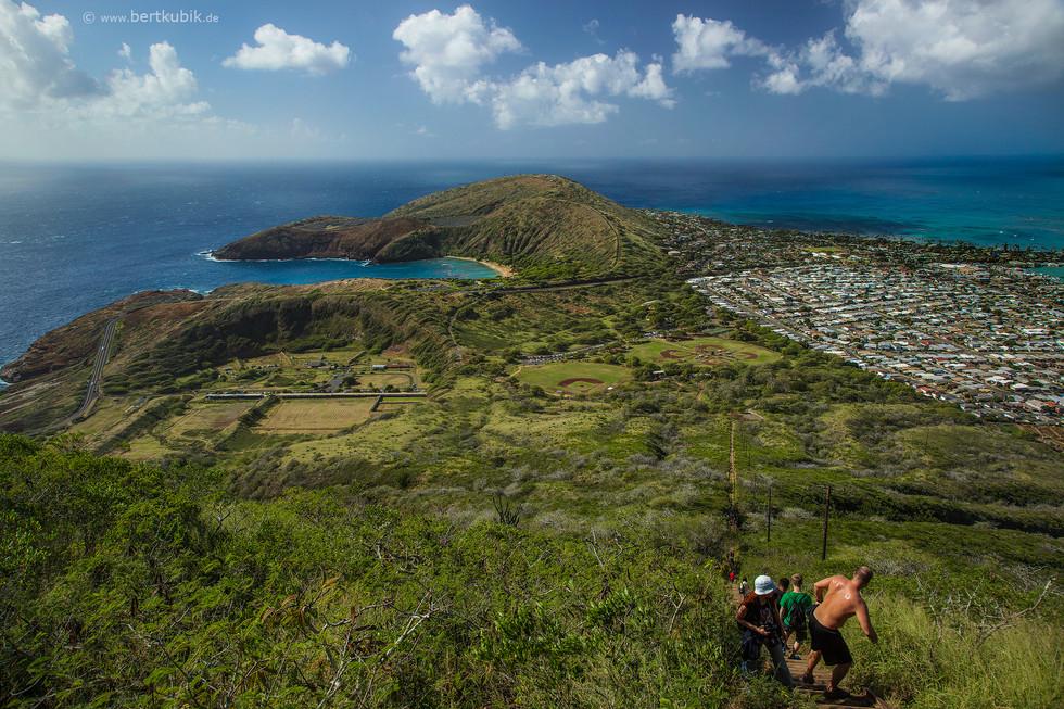 Blick vom Koko-Krater auf Oahu