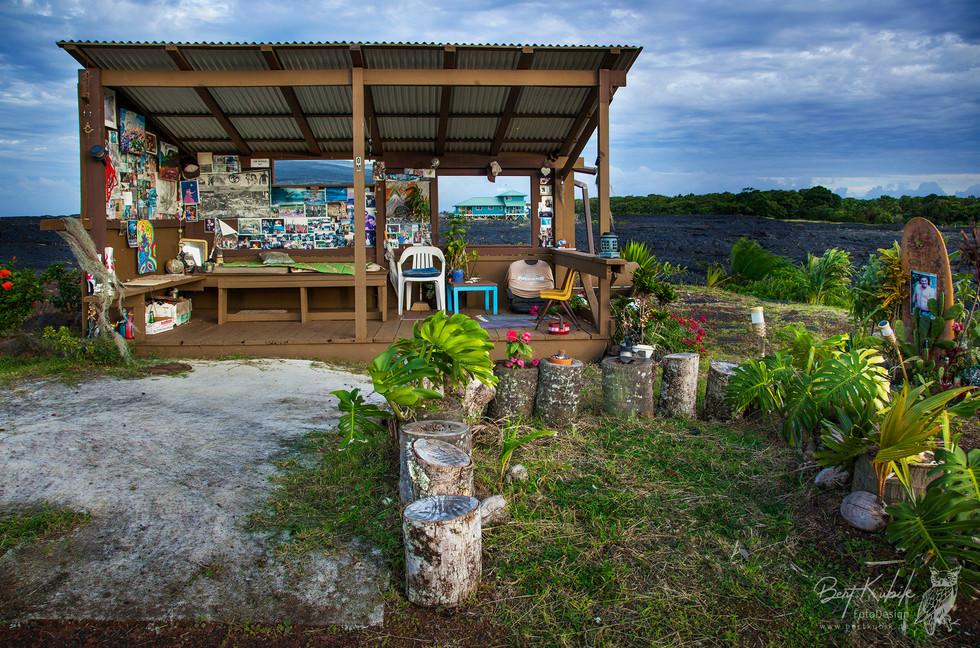 Denkmal für Om Folger bei Kalapana auf Big Island