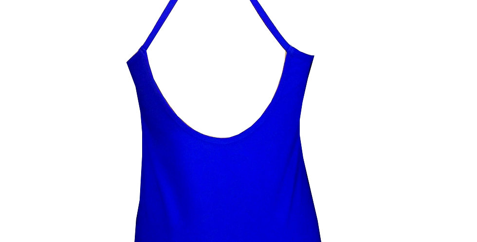 TK32 Electric Blue X Sports Tank Top by Rhapso Designs Activewear back view