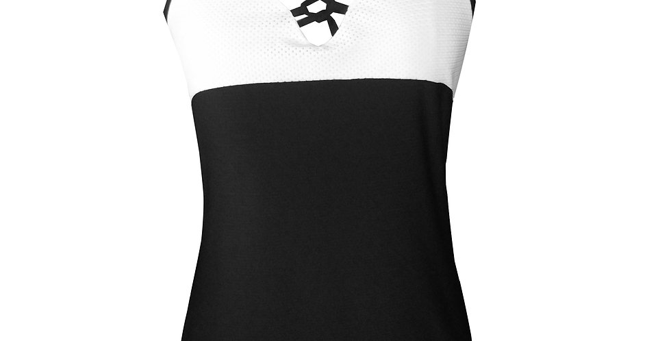 Rhapso Designs TK54 Lace up Contrast Mesh Sports Tank front view