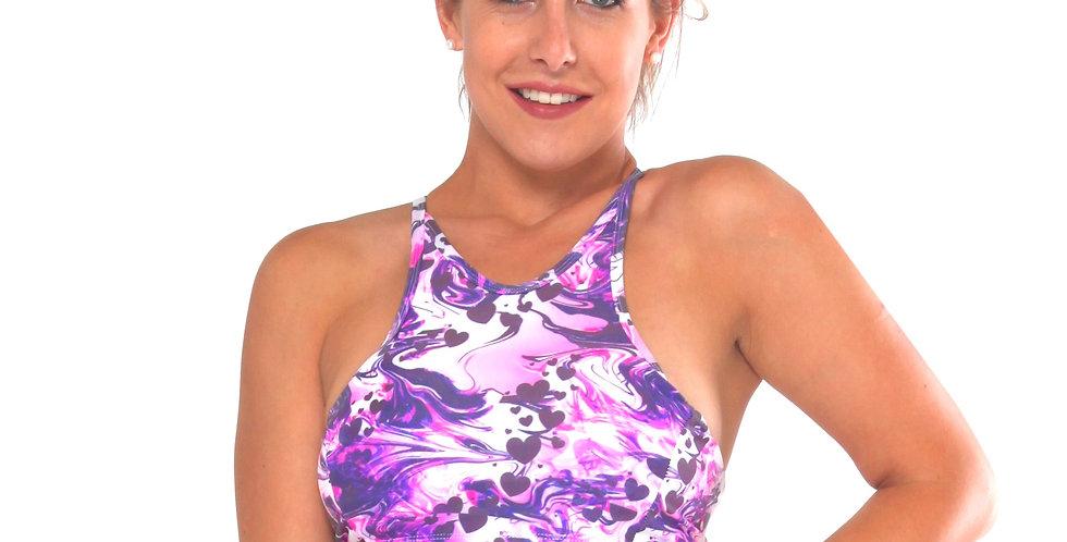 BK9P648 Smoke Heart Print High Neck Tank Crop Bikini Top