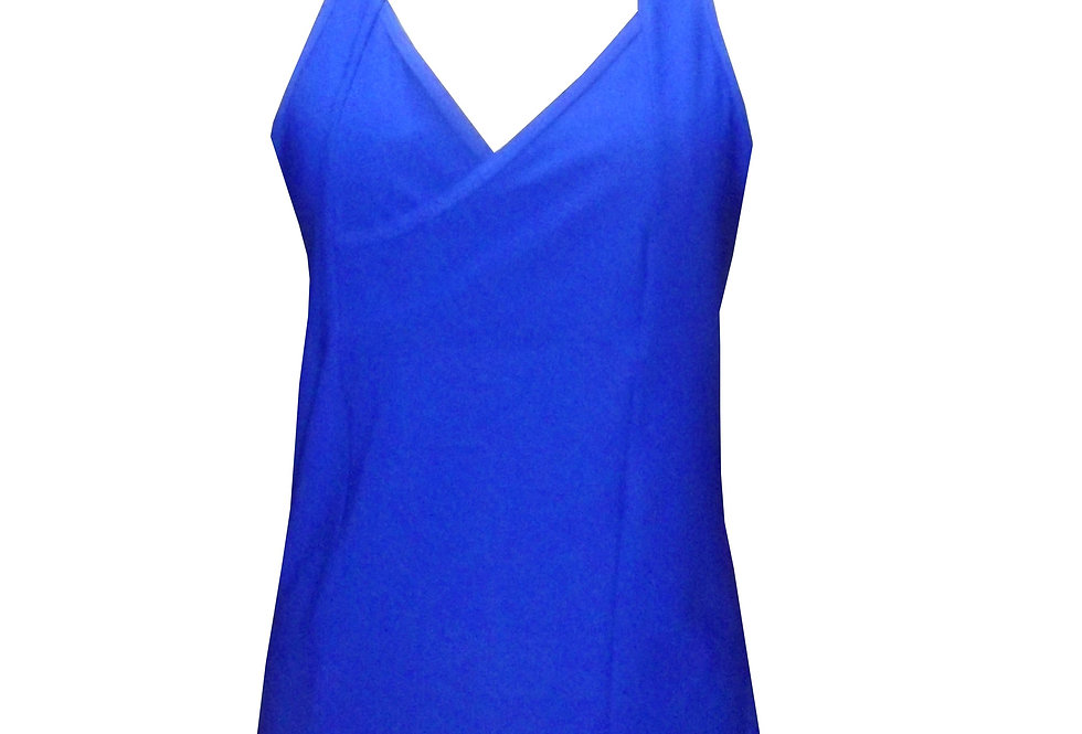 TK10 Oceanic Blue V wrap Mesh Sports Tank by Rhapso Designs (front view)