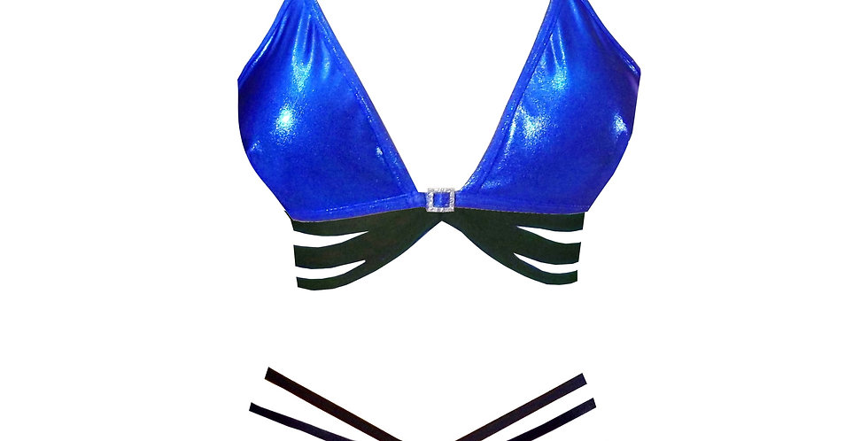 Rhapso Designs Electric Blue Sparkly strappy bikini and ladder knicker front view